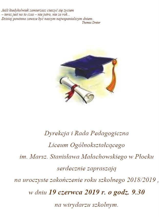 Zakończenie Roku Szkolnego 20182019 Liceum